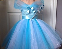 frozen inspired full length tutu dress with wand and tiara included
