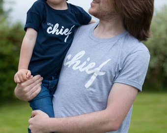 Little Chief T-Shirt (Clan) - Kidswear/Kids Fashion/Typography/Under 5/Navy/Grey/Boys/Girls/Unisex/Trendy/Toddler/Scotland/Father's Day