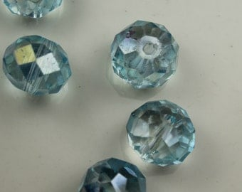 12mm Blue Czech Glass AB Faceted Crystals Vintage #148
