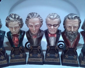 Star Creations Set of 6 Classical Composers Busts, Mozart, Beethoven, Chopin, Schubert, Brahams & Liszt