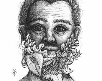 A4 'Floral Beard' Illustrative Print