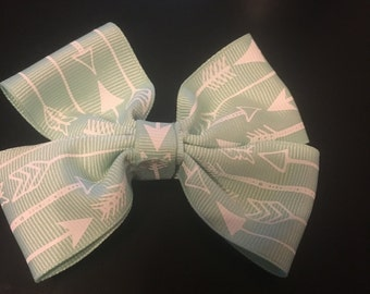 Mint colored hair bow