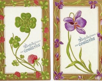 Two Old Vintage Birthday Postcards, Flowers