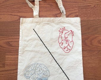 Brain\Heart Embroidered Tote Bad