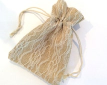 "6 pcs 5""x6 1/2"" premium quality lace burlap drawstring bags gift printing rustic diy shower wedding party"