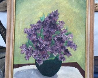 Original framed oil, floral, still life, lilacs, unsigned