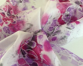 Use coupon,Hand painted silk scarf,Long scarf,70x17inch(180x45cm)Womens scarf,Neck scarf,Hand dyed scarf,Unique,Gift,ArtTeamShop