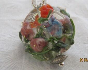 Floral glass lampwork pendant