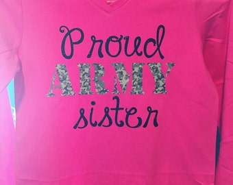 Proud Army Sister Little Girl Shirt
