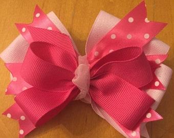"""3.5"""" Pink polka dot hair bow"""