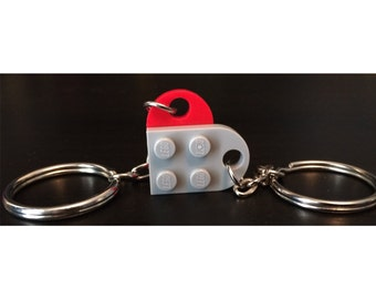 Romantic Geeky Gift - Lego Heart Keychain, Matching Couples Keyring