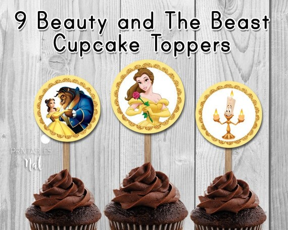 Beauty and the Beast Printable Cupcake Toppers Page Two