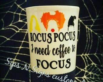 Glitter Travel Mug, Hocus Pocus, Halloween