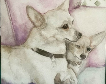 Watercolor of two chihuahuas