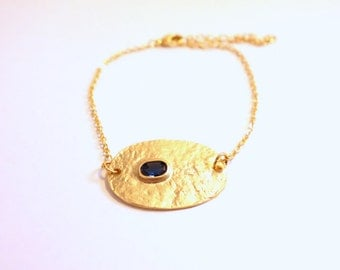 Bracelet Gold Plaque blue stone