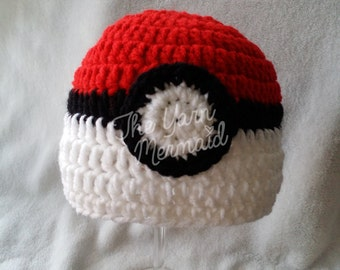Pokemon Pokeball Crochet Beanie Newborn Infant Baby Toddler Child Teen Adult Photo Prop Halloween Costume