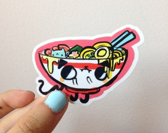 """Lil' Kawaii Ramen Bowl Cat 2.7"""" x 2"""" Vinyl Sticker"""