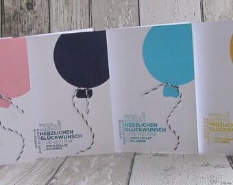 Grußkarte Geburtstagskarte Luftballon von Frollein KarLa