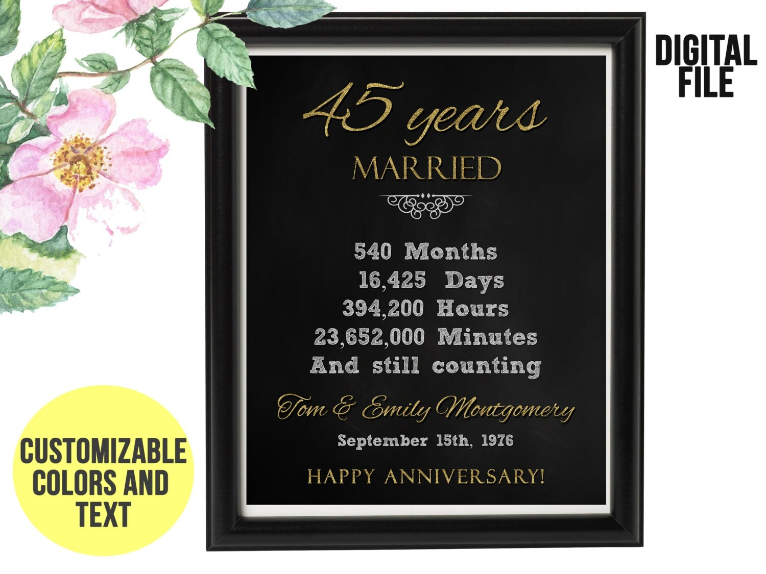 40th Wedding Anniversary Gifts For Husband: 40 Year Wedding Anniversary Gift 40th Anniversary PRINTABLE