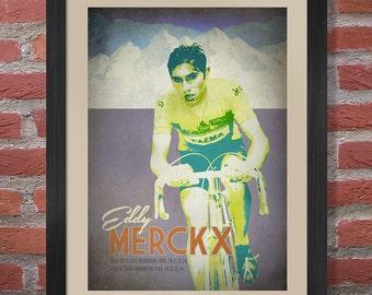 Retro Style Eddy Merckx Cycling Poster Print