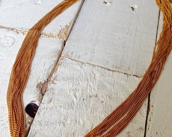 Vintage Gold Layered Chains Necklace Multi Strand Long Necklace