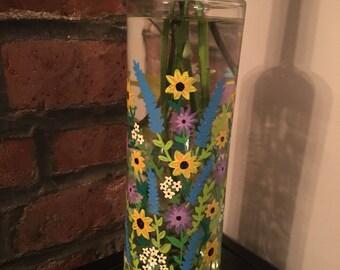 Hand Painted Vase Upcycled Wine Bottle