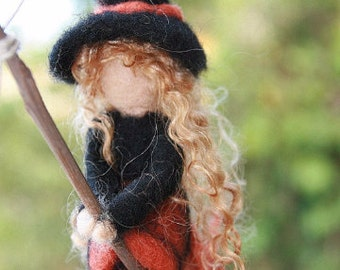 Waldorf Inspired Needle Felted Girl Witch