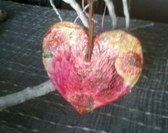 Decoupage wooden heart