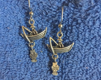 Fisherman with Boat Earrings
