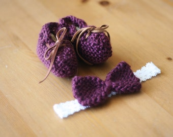 Set of lace-up booties and bow headband in burgundy