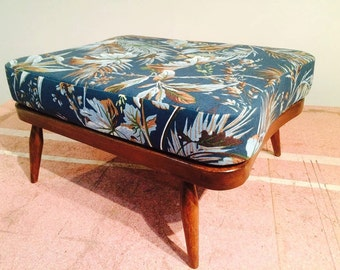 Ercol Foot Stool in a Vintage Palm Fabric