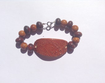 Fire Red Jasper and Hand-Painted Medallion Bracelet