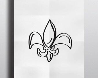 Fleur de Lis Sketch - Print (8x10)