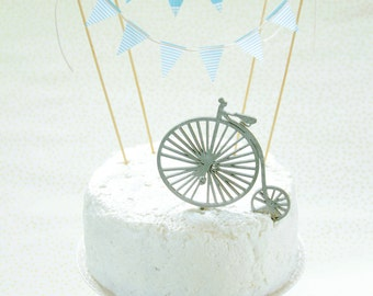 VINTAGE BIKE Cake Topper, wood figure, wooden cake topper, wood cake topper, laser cut wood, wood cake decoration, baby shower, birthday boy