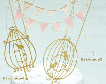 VINTAGE BIRDCAGE Wood cake topper, wooden cake topper, laser cut wood, birdcage cake toppers, wood cake decoration, birthday, baby shower