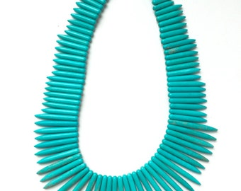 Turquoise Graduated Spikes, Full Strand, 20mm - 50mm