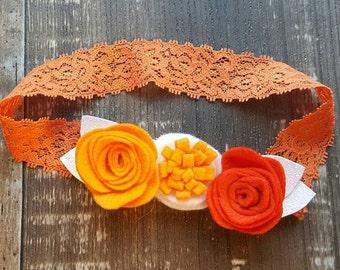 Felt flower headband, Wool felt flowers, Felt flower Crown, Baby-Toddler-Teen-Adult Felt Headband, Headband