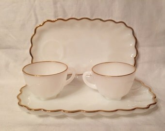 Pair of Anchor Hoching Milk Glass Snack Sets