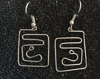 Silver Wire Dangle Earrings - One of a Kind Wearable Art - Lightweight and Comfortable!