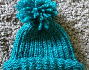 Blue-Green winter hat for 1/3 bjd dolls