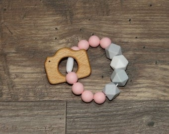 Silicone and Wood Teething Toy | Camera | Modern | Perfect Gift | Handmade in Canada | Unique | Teething | Baby | Kenton Creations