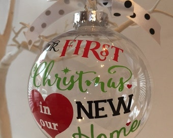 Personalised first Christmas in our new home bauble Xmas tree decoration gift