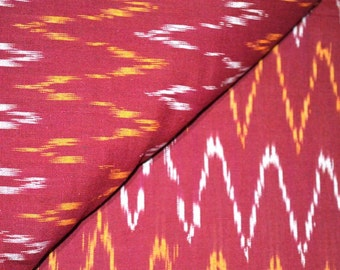 Red Zig Zag Pattern Ikat Fabric by the yard