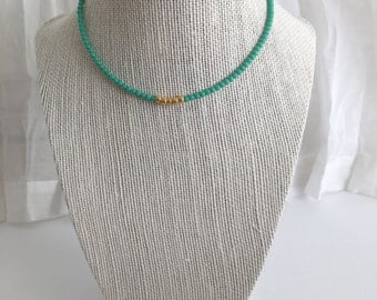 Beaded Choker- Fern Green with Gold