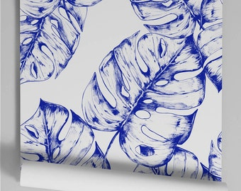 Wallpaper blue Monstera