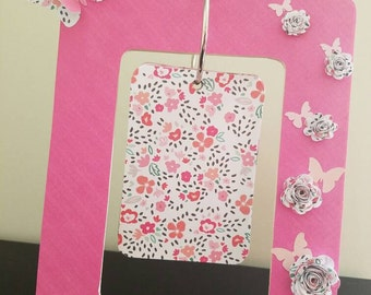 Pink Picture Frame with 3D Butterflies and Flowers