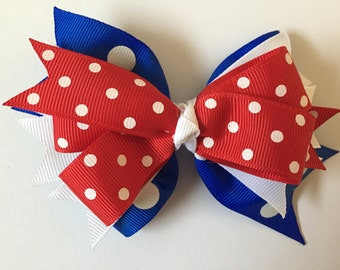 Red White and Blue Polka Dot Hair Bow