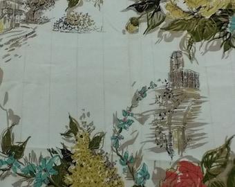 Floral Parisian Scene Fabric- Cream Background- Vintage- 2 yds.