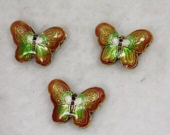 10 pcs Beautiful Cloisonne Butterflies Orange light Green 23mm x 17mm