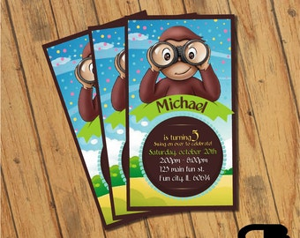 Curious George Invitation - Curious George Invite - Curious George Birthday Invitation - Curious George Bday Party - Digital File Download